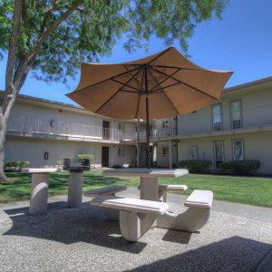 Community landscape and apartment building